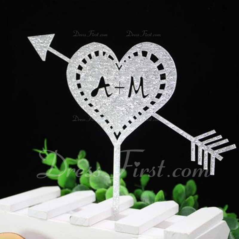 Personalized Heart Acrylic/Wood Cake Topper