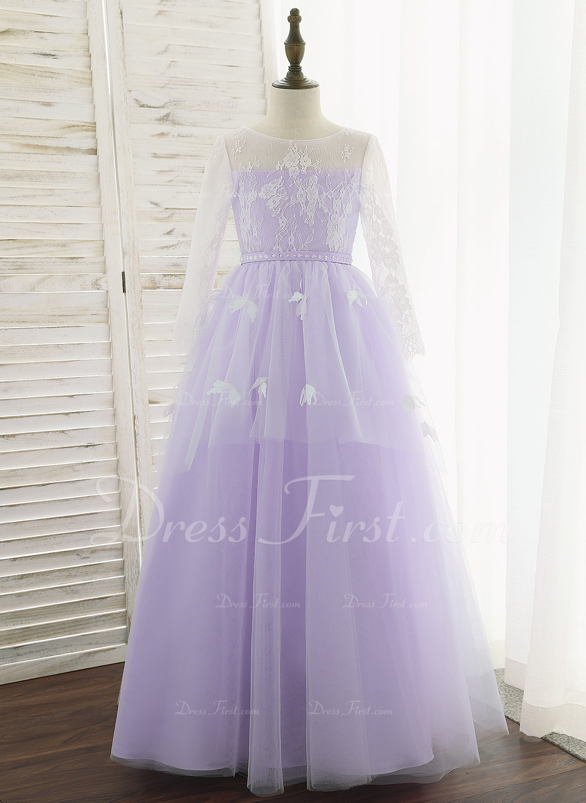 715f189b8d13  US  96.99  Ball-Gown Princess Floor-length Flower Girl Dress - Tulle Lace  Long Sleeves Scoop Neck With Flower(s) - JJsHouse