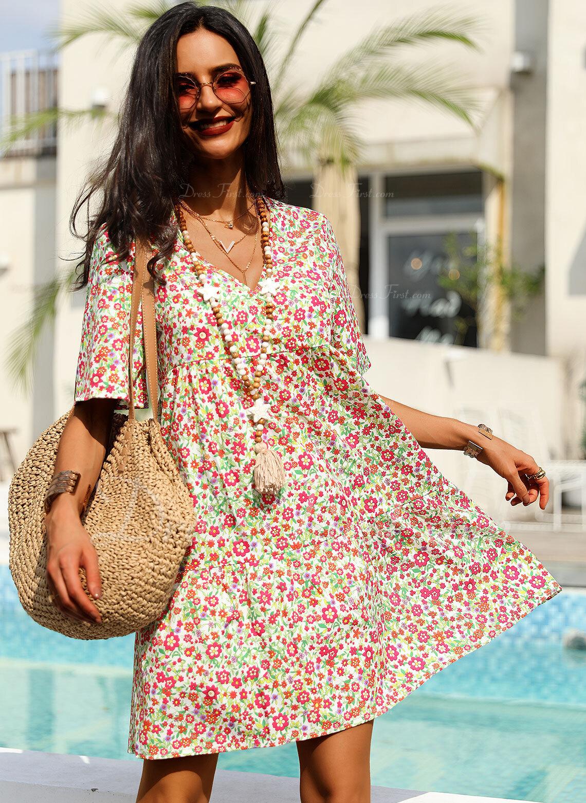 Floral Print Shift Short Sleeves Midi Casual Vacation T-shirt Dresses