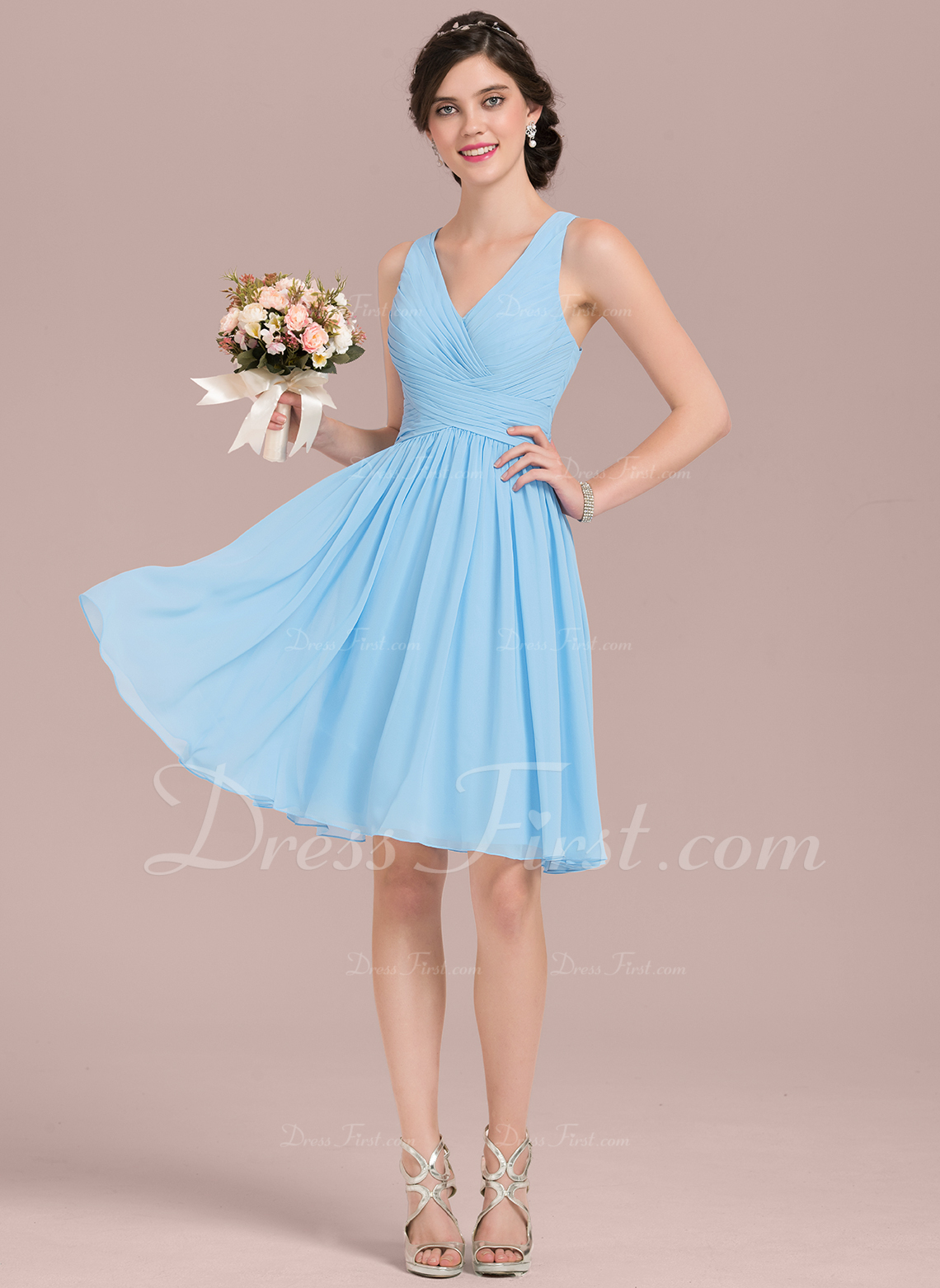 8ae2d47d1ec Loading zoom. Loading. Color  As Picture. A-Line V-neck Knee-Length Chiffon  Bridesmaid Dress With Ruffle ...