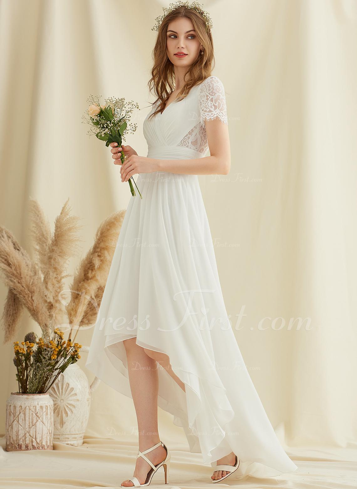 A-Line V-neck Asymmetrical Chiffon Lace Wedding Dress