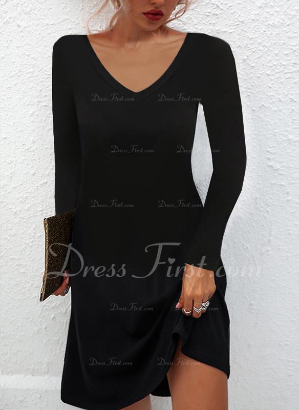 Solid Skiftekjoler Lange ærmer Mini Den lille sorte Casual Tunika Mode kjoler