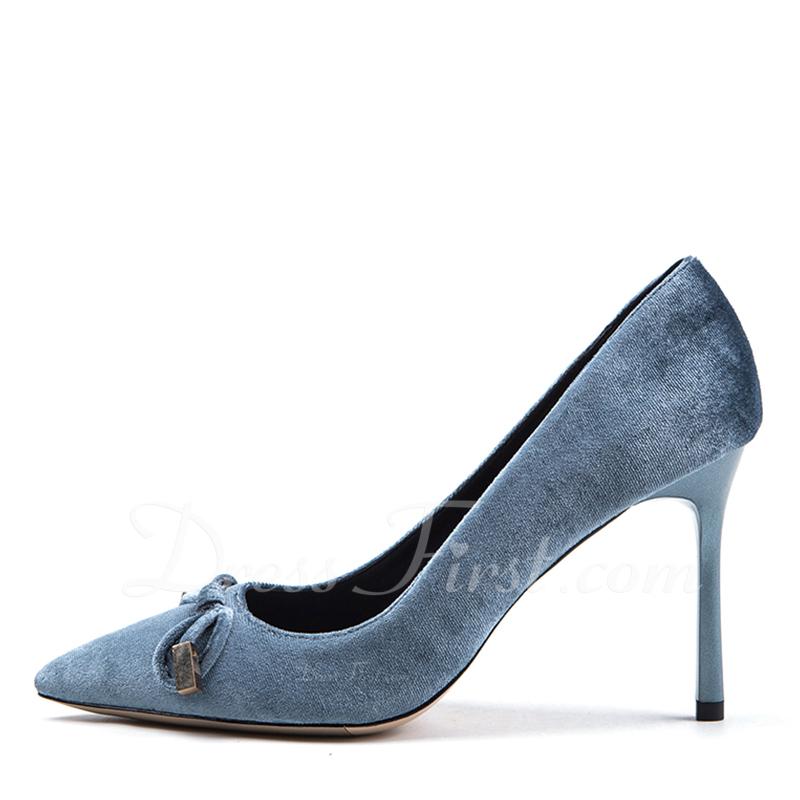 3573c42361892f Loading zoom. Chargement en cours. Couleur: Gris. Femmes Suède Talon  stiletto Escarpins Bout fermé avec Bowknot chaussures ...