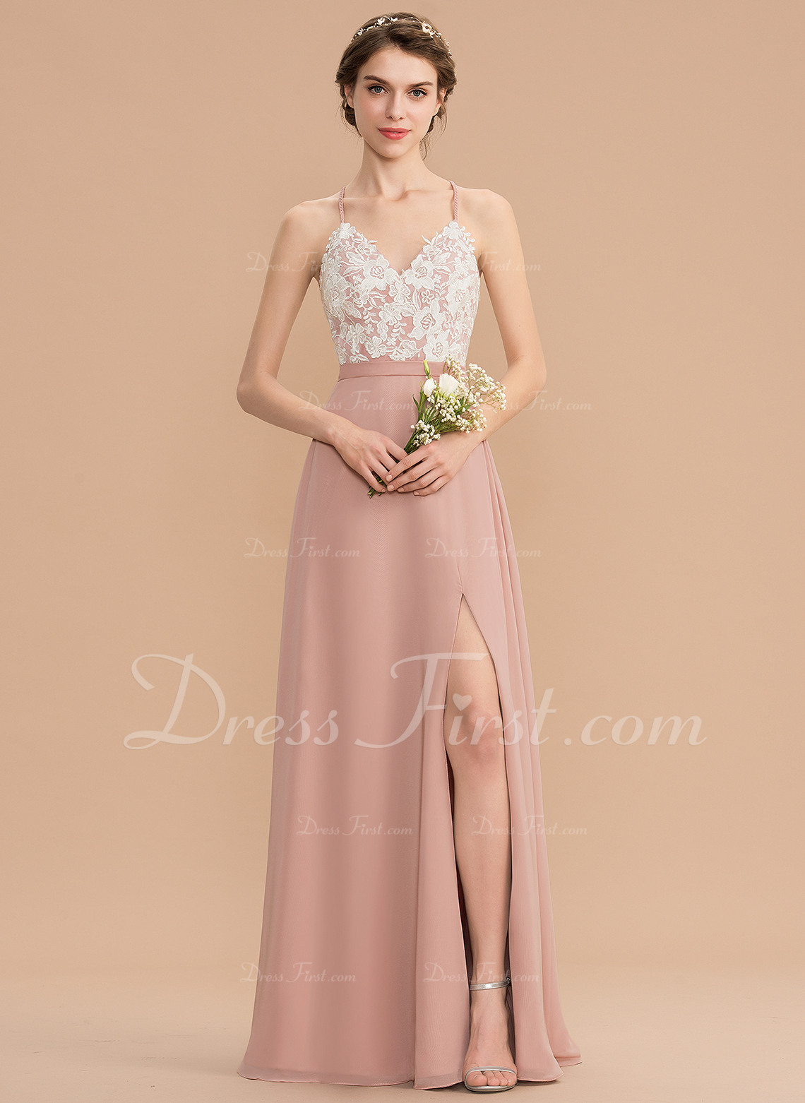 d48c7afb0f6 A-Line V-neck Floor-Length Chiffon Lace Bridesmaid Dress With Split ...