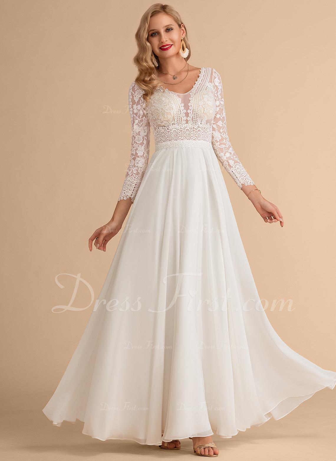 A-Line V-neck Floor-Length Chiffon Lace Wedding Dress