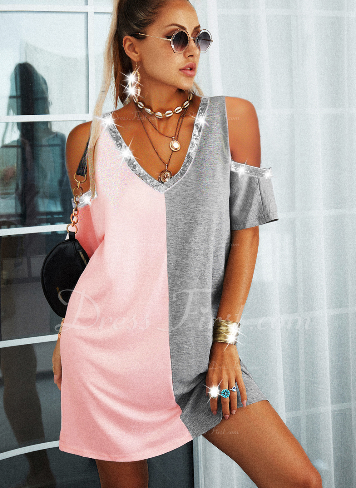 Color Block Shift 1/2 Sleeves Mini Casual Tunic Dresses