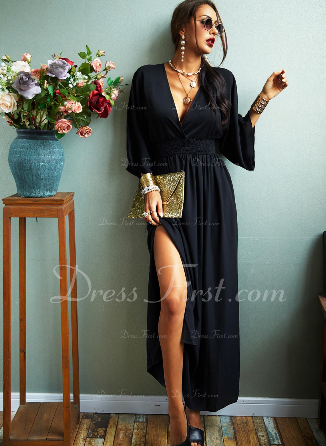 Solid Sheath 3/4 Sleeves Batwing Sleeves Maxi Little Black Casual Elegant Dresses