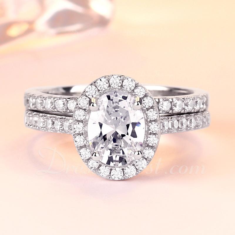 Plata esterlina Zirconia cúbica aureola Corte Ovalado Anillos de promesa Conjuntos de novia
