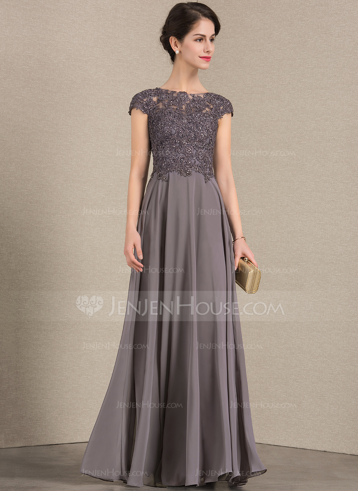 5f7c234d80fb A-Line/Princess Scoop Neck Floor-Length Chiffon Lace Mother of the Bride  Dress With Beading #143385