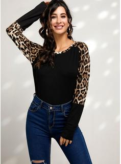 Leopardo Manga larga mezcla de algodón Cuello redondo camiseta Blusas