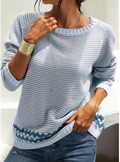 ラウンドネック カジュアル 縞模様の チャンキー・ニット セーター