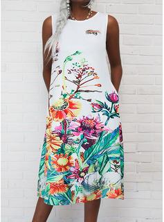Estampado de animales Floral Vestidos sueltos Sin mangas Midi Casual Vacaciones Vestidos de moda