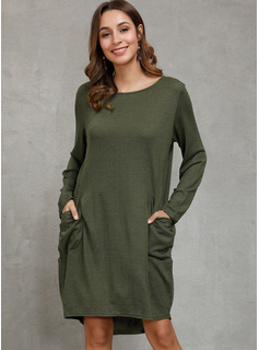 Baumwolle mit Einfarbig Knielänge Kleid