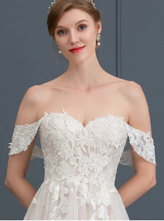 Ball-Gown Sweetheart Sweep Train Tulle Wedding Dress
