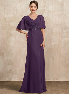A-Line V-neck Floor-Length Chiffon Evening Dress With Lace Sequins