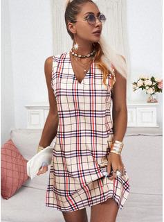 Tela escocesa Vestidos sueltos Sin mangas Mini Casual Franelilla Vestidos de moda