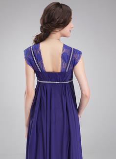 Empire Square Neckline Floor-Length Chiffon Maternity Bridesmaid Dress With Ruffle Lace Beading