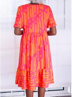 印刷 シフトドレス 半袖 ミディ カジュアル 休暇 チュニック ファッションドレス