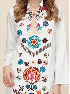Maxi Escote en V poliéster Impresión Mangas Largas Vestidos de moda