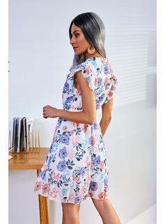 Floral Print A-line Sleeveless Midi Casual Skater Dresses