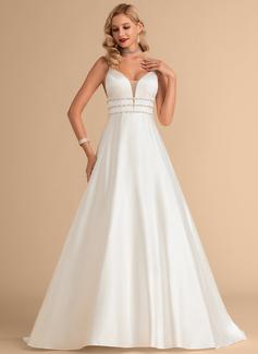 Balklänning/Prinsessa V-ringning Sweep släp Satäng Bröllopsklänning med Beading