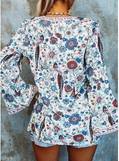Blomster Print V-hals Lange ærmer Button-up Casual