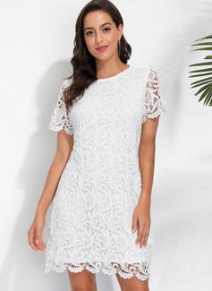 Shift Round Neck Polyester Dresses