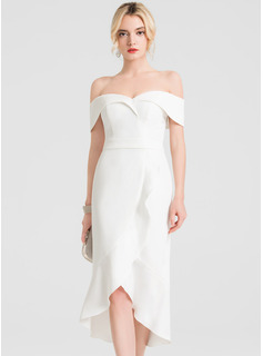 Trumpet/Mermaid Off-the-Shoulder Asymmetrical Stretch Crepe Wedding Dress With Ruffle Cascading Ruffles