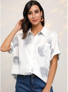 Impresión Manga corta poliéster Solapa Camisas Blusas Blusas