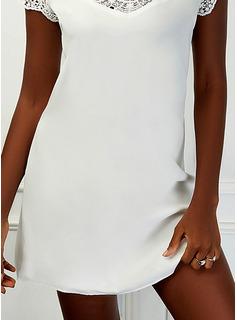 Sólido Vestidos sueltos Manga Corta Mini Elegante Vestidos de moda