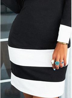 Farbblock Figurbetont Lange Ärmel Mini Elegant Modekleider