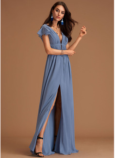 V-ringning Skifferblå Chiffong Modeklänningar