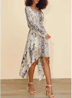 Print A-linjeklänning Långa ärmar Asymmetrisk Fritids skater Modeklänningar