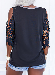 Color Block Lace Print Cold Shoulder 1/2 Sleeves Casual Blouses