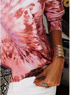 Tie Dye One Shoulder Long Sleeves Casual Blouses