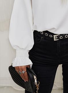 Pizzo Solido Girocollo Maniche lunghe Elegante Camicie