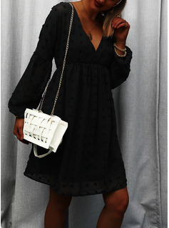 Solid Shift Long Sleeves Mini Little Black Elegant Tunic Dresses