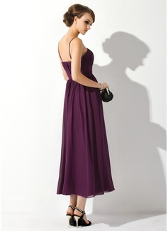 Empire Tea-Length Chiffon Maternity Bridesmaid Dress With Ruffle Flower(s)