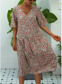 フローラル 印刷 シフトドレス 半袖 ミディ カジュアル 休暇 チュニック ファッションドレス