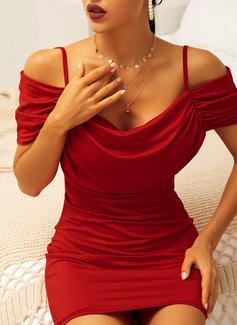 Solid Bodycon Kold-skulder ærmer Korte ærmer Mini Party Sexet Mode kjoler