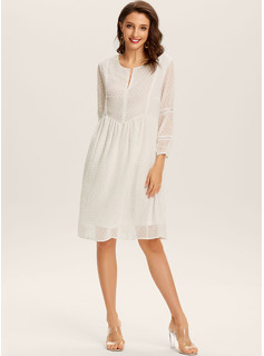 knælange V-hals Polyester Solid Lange ærmer Mode kjoler