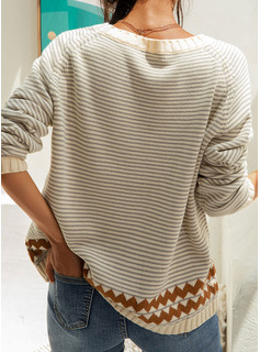 Round Neck Casual Striped Chunky knit Sweaters