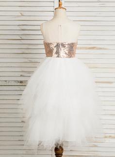 A-Line/Princess Tea-length Flower Girl Dress - Tulle/Sequined Sleeveless Scoop Neck