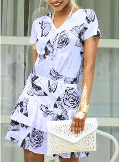 Above Knee V neck Polyester Print Short Sleeves Fashion Dresses