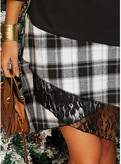 Tela escocesa Vestido línea A Manga Larga Asimétrico Casual Vestidos de moda