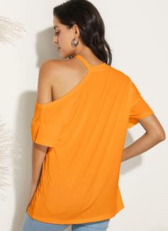 Figure Print One Shoulder Short Sleeves Casual Blouses
