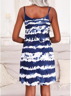 Tie Dye Vestido línea A Sin mangas Mini Casual Vacaciones Patinador Tipo Vestidos de moda