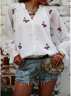 Animale Stampa Scollatura a V Maniche lunghe Bottone Casuale Shirt and Blouses