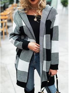 Mit Kapuze Lässige Kleidung Lange Farbblock Taschen Pullover