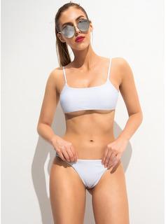 Bikinis poliéster Del spandex Color sólido Cintura Baja De mujer Sexy Ropa de baño